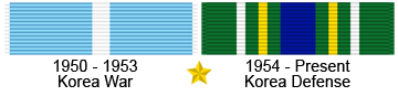 Korea War and Korea Defense Ribbon