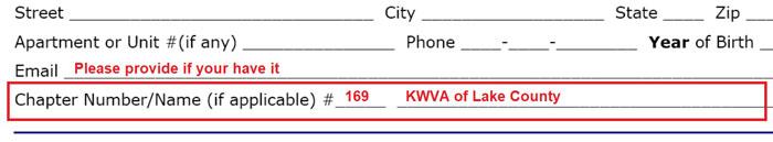 Print KWVA registration form